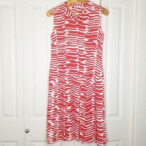 CABI Brushstrokes Red White Pleated Midi Dress M